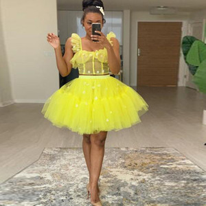 Cheap 2 Pieces Yellow Cocktail Dresses Floral Fluffy Extra Tulle Short Prom Dress Ball Gown Tutu Knee Length Homecoming Dresses