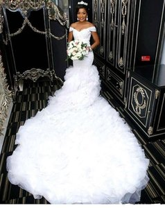 Off the Shoulder Beautiful Mermaid Wedding Dresses 2021 African Lace Bodice Long Train Bridal Gowns Custom Made