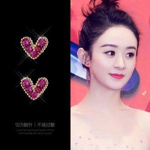 New super fairy Love simple and versatile, silver needle Earrings, Korean exquisite zirconium personality stone ear jewelry
