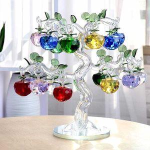 크리스탈 사과 나무 장식 fengshui 유리 공예 홈 장식 인형 크리스마스 년 선물 기념품 장식 장식품 210607