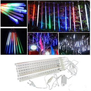 LED Strings Waterproof 30CM 50CM Snowfall LED Strip Light 8pcs set Christmas Meteor Shower Rain Tube Light String 100-240V for Party Wedding