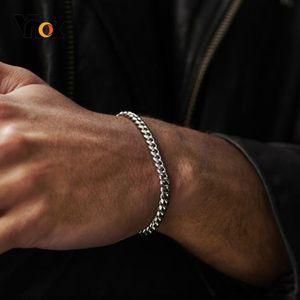 Men Simple 3-11mm Stainless Steel Curb Cuban Link Chain Bracelets for Women Unisex Wrist Jewelry Gifts