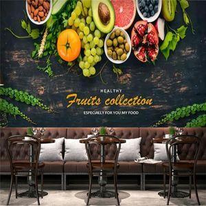 Wallpapers Custom Modern Fruit Restaurant Industrial Decor Wallpaper Snack Bar Black Background Wall Papers Mural Papel De Parede 3D