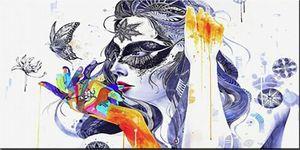 Mão cor flor mulher enorme pintura a óleo sobre canvas home decor handpainted / hd-cópia arte de arte personalização é aceitável 21052804