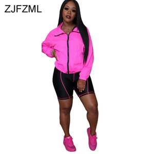 Striped Sportswear 2 Piece Outfits for Women Hooded Full Sleeve Zipper Front Jacket and Skinny Knee Length Pants Neon Track Suit