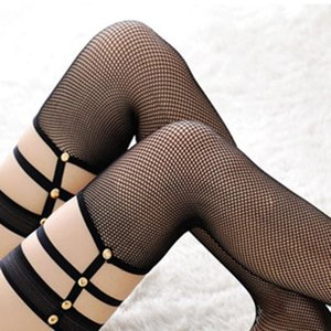 Socks & Hosiery Women Sexy Rivet Lace Top Fishnet Thigh High Transparent Stockings Lingerie Pantyhose