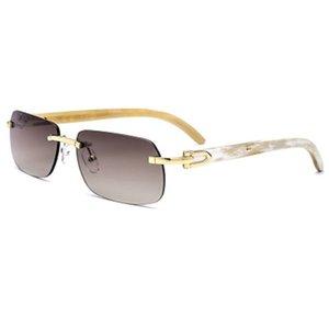 Square Sunglasses Men Mottled Genuine Buffalo Horn Mens Brand Designer Sunglass Vintage Festival Carter Buffs Sun Glasses