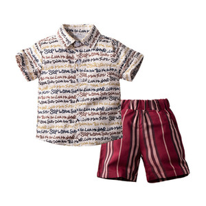 Boy's Set Shirt+pants Short Sleeve Printed Striped Children 2pcs Set Fashion Casual Summer Kids Suits 80 90 100 110 120 130