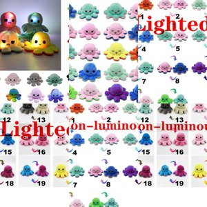 Octopus Flip Lighted Stuffed Reversible Doll Soft Simulation Reversible Plush Toy Color Chapter Plush Doll Filled Plush Child Toy 1XS6N