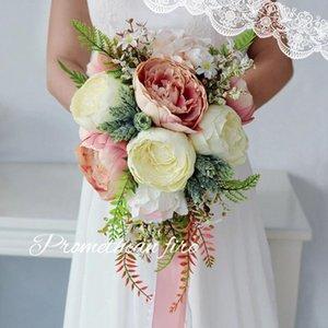 Wedding Flowers Waterfall Pink Bouquet Decorations Artificial Purple Peony Flower Bouque De Noiva Bridal Accessories