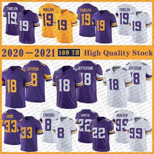19 Adam Thielen Football Jersey 18 Justin Jefferson 33 Dalvin Cook 8 Kirk Cousins 22 Harrison Smith 99 Danielle Hunter Stitched Jerseys