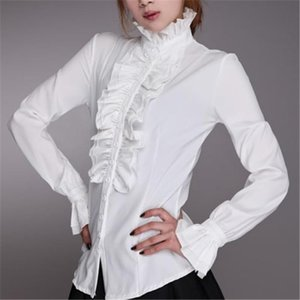Women Ladies Bell Long Sleeve Shirts High Neck Frill Ruffle Blouse Ol Office Lady Shirts Ruffle Cuff Shirts Clothing