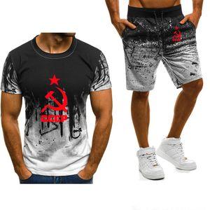 New 2021 Summer Men's Short Sleeve Unique Cccp Russian Ussr Soviet Union Printed High Quality Cotton T-shirt Pants Suit 20m