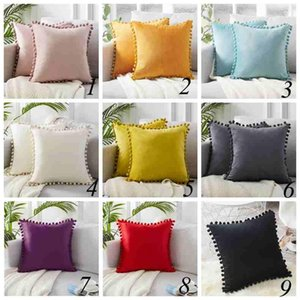 Pillow Case Designer Decorative Velvet Soft Cusion Cover with Fringe Ball Double Side Home Hotel Square Decorative Pillow CoverLLS72