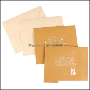 Greeting Event Festive Party Supplies Home & Gardengreeting Cards 2Pcs 3D Valentines Day Love Tree Romantic Blessing Drop Delivery 2021 W9Ef