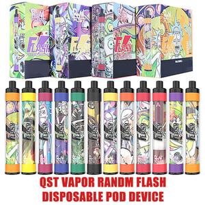 Authentic QST vapor randm flash disposable pod device Kit 1000 Puffs 650mAh Battery RGB Light Prefilled 4ml Pod Vape VAPOR Pen Bar Plus
