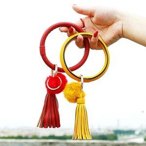 Bracelet Key Ring Tassels Enamel Multicolor Wristlet PU Leather Hair Ball Bracelet Key Ring Holder For Women Girls Gift HWC5801