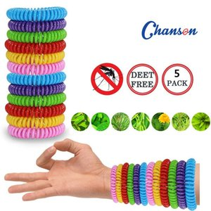 5Pcs Natural Security Telephone Coil EVA Mosquito Repellent Bracelet OENM Waterproof Spiral Wrist Strap Outdoor Indoor Insect Protection Bab