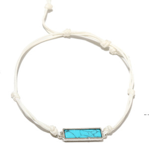 Adjustable Ethnic Style Turquoise Bracelet Ladies Square Hand Woven Bracelet Retro Natural Stone Gift Fashion Accessories DHF5314