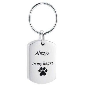 Zincirler Pet Kremasyon Takı Urns Anahtarlık Küller için Paslanmaz Çelik Her Zaman Kalbimde Kolye Köpek / Kedi