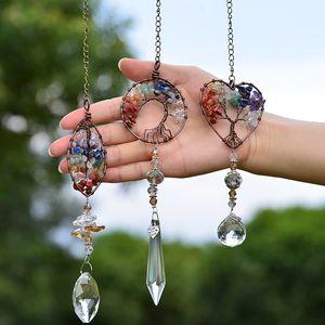 Yoga heilung spirituelle hause fenster wand hängen anhänger dekor baum des lebens hängen chakra stein prisma natürliche kristall charme ornament