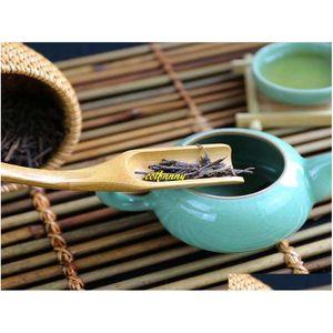 100 pcs / lote Rápido transporte novo 18cm Lote de bambu natural colher de chá colher café colher tespo jllhra soif