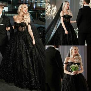 Sexy Sparkly New Gothic Black Plus Size Wedding Dresses Off Shoulder Sequins Lace Appliqued Bridal Gowns Court Train Wedding Dress Vestidos