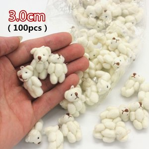 100pcs free shipping 3.0CM plush stuffed toy cartoon joint bear bouquet packaging material beige color mini bear Q0113