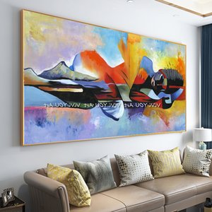 Abstract oil painting of Buddha and Lord, 100% hand-painted oil painting on canvas, art wall in living room