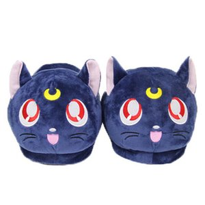 Anime Sailor Moon Plush Slippers Luna Cat Kitty Soft Stuffed Shoes Warm Winter Indoor Slippers 210225
