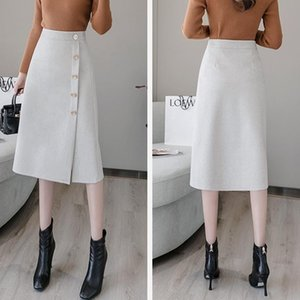 Skirts Gezhonu Suitable For Hip And Thigh Thick Skirt 2021 Autumn Commuter High Waist Mid-length A-line Professional