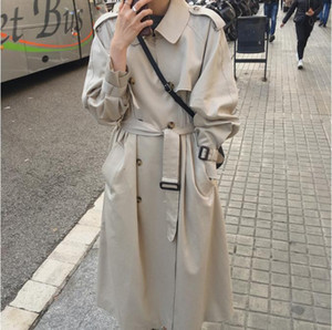 2021 New British Double Breasted Oversized Trench Coat Women Windbreaker Fashion Female Turn-down Collar Long Overcoats Winter 79MP