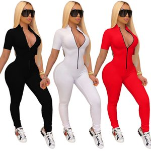 Women Designers Clothes 2021 Sporing Jumpsuits Slim Sexy Solid Colour Zipper Long Sleeve Skinny One Piece Pants Ladies New Fashion Rompers