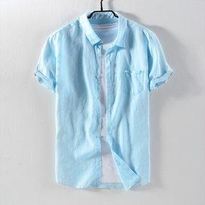 2021 новый бренд с короткими рукавами белья рубашки мужчины повседневный квадратный воротник сплошной мужской мода дышащая рубашка льна мужской временная камесса LRM1
