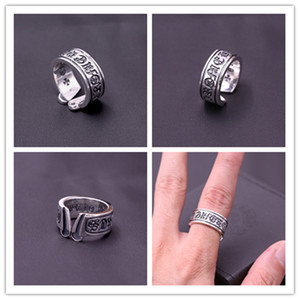 Brand new 925 sterling silver handmade CH cross adjustable rings American European punk gothic antique silver vintage luxury jewelry rings