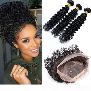 Deep Wave 360 Band Lace Frontal With Bundles 8A Unprocessed Brazilian Human Hair Wefts Deep Curly With 360 Lace Band Frontal Closure