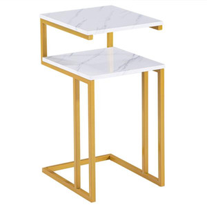 C-Type Side Table Double-Layer Gold Marble Sticker Sofa Balcony Tray Small Accent Modern Side Table For Living Room Bedroom