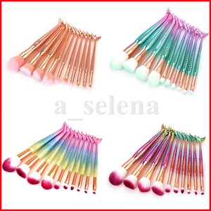 10PCS mermaid Makeup Brushes Set Foundation Powder Eyeshadow Blush Cosmetics Magic Fish Make Up Tools