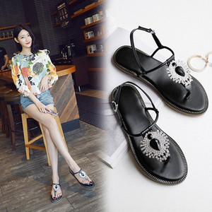 2020 Summer Shoes Women Sandals Flip Flops Rhinestone Ladies Beach Sandals Woman Casual Summer Holiday Shoes Slippers Black 1352 K305#