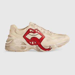 Mens Rhyton Casual Schuhe DAD Sneaker Paris Mode Frauen Schuhplattform Sport Erdbeer Welle Mund Tiger Web Print