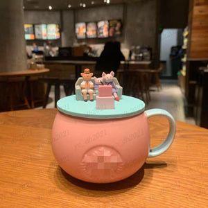 Starbucks 12OZ 355ML Cups Luxury Cute Pig Ceramic Mugs Married Couples Anniversary Morning Mug Milk Coffee Tea Breakfast Valentines Day