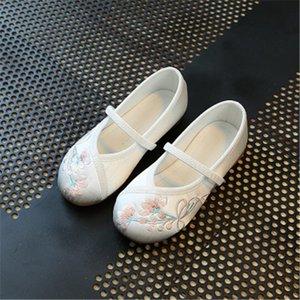 أحذية رياضية hanfu الفتيات أحذية القديمة بكين القماش الأطفال التطريز ربيع الخريف الطفل نمط وطني للأطفال