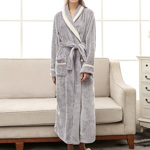 Hot Sale 2021 New Winter Womens Pajamas Warm Dress Bath Robe Solid Flannel Soft Fashion Lace-up Female Long Thick Sleepwear