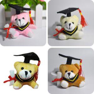 "12pcs Lot Cartoon 6cm(2.4"") Teddy Bear Graduation Bear Plush Joint Doctor Bear Pendants Toys For Key Phone Bag 4Color To Choose Q0113"