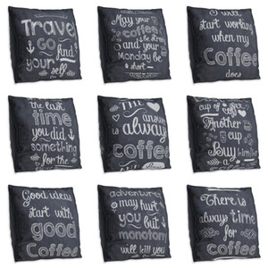 Letter Coffee Double Side Print Cushion Cover Polyester Decorative for Sofa Seat Soft Throw Pillow Case Cover 45x45cm Home Decor
