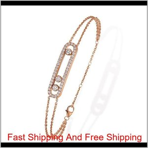 France Fashion Real 925 Sterling Silver Fashion Necklace Bracelet With Three Moved Stone Clear Cz For Wo jllQsO nana_jewel