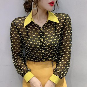 Fashion Korean Clothes Patchwork Print Contrast Color Blouse Women Shirt 2021 New Spring Summer Chiffon Ropa Mujer Tops T02523