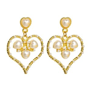 Vintage Korean Heart Shaped Dangle Earrings for Woman Elegant Simulated Pearl Statement Drop Female Party Ear Jewelry