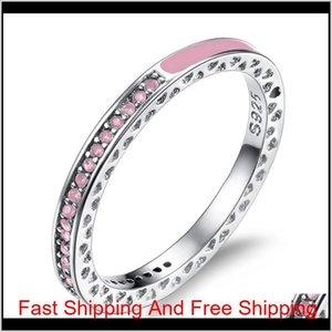 European And American Cross-Border Special Selling Silver Ring Shiny Heart Diamond Epoxy Ring Enamel All-Match Woman Wedding Diamond F Zedgr