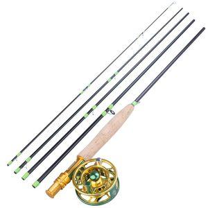 Sougayilang 2.7m portable 5 Section Fibre de carbone Rod de la fibre de carbone et de la meilleure qualité de qualité supérieure 5/6 de pêche Combo Tackle